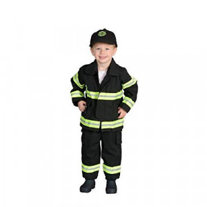 Jr. Firefighter Suit w/Embroidered Cap, size 18Month (Black)