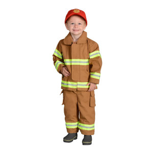 Jr. Firefighter Suit w/Embroidered Cap, size 18Month (Tan)