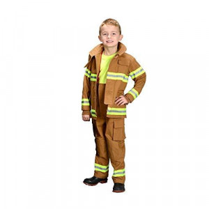 Adult Firefighter Suit, size Adult Small (Tan) LOS ANGELES (Helmet Sold Separately)
