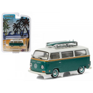 1972 Volkswagen Type 2 (T2B) Green Van with Surf Boards 1/64 by Greenlight