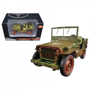 US Army WWII Jeep Vehicle Green Weathered Version 1/18 Diecast Model Car by American Diorama