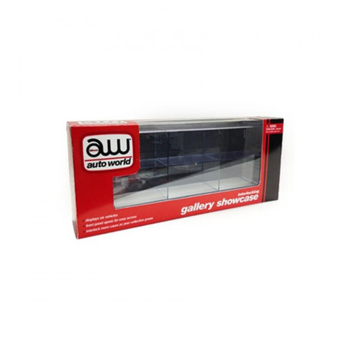 Interlocking 6 cars Collectible Display Show Case for 1/64 Scale Models by Autoworld