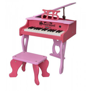 Schoenhut 30-Key Two Tone Blue Digital Baby Grand Piano & Be - Pink