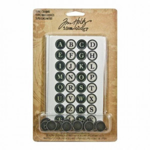 Metal Type Charms by Tim Holtz Idea-ology 16 Charms per Pack 11/16 Inches Antique Nickel Finish TH92819