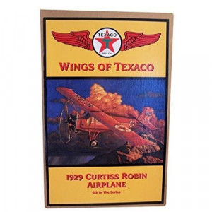 Wings of Texaco - 6th in the Series - 1929 Curtiss Robin Airplane Diecast Metal Coin BankRed