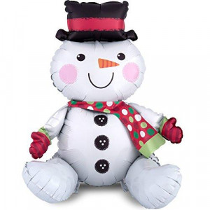 Burton & Burton Amscan 3601901 Christmas Sitting Snowman Shaped Air Fill Foil Balloon