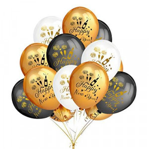 50Pcs Gold & Black & White Color Latex Printed Happy New Year Balloons- New Year Eve Party Holiday Christmas Party Decoration Supplies