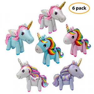 7 Colors Kids 6 Pack 3D Unicorn Balloons Walking Animal Balloons Aluminum Foil Balloons for Birthday Party, Baby Shower, Wedding Party Decorations Unicorn Party Supplies?