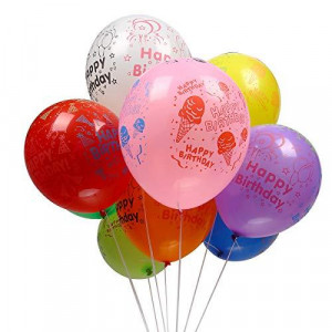 50pcs 12inch Latex Balloons for Happy Birthday Party Colorful Printed Balloons Birthday Home Decoration Multicolor (Assorted Birthday)