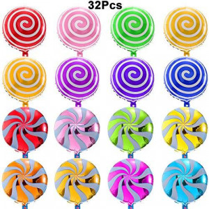 32 Pieces 18'' Sweet Candy Balloons Include 24 Pieces 19x26 inch Round Lollipop Balloons and 8 Pieces 18 inch Candy Lollipop Balloons Aluminum Foil Balloons for Wedding Birthday Christmas Party
