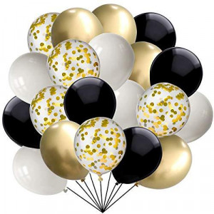 60 pcs Black and Gold Confetti Balloons 12 Inch White Pearl and Gold Metallic Party Balloons for Holidays Birthday Party Decorations