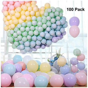 ZCMG Latex Balloons Macaron Rainbow Party Balloons 10 Inch Pearlescent Helium Pastel Candy Balloons for Birthday Wedding Engagement Halloween Christmas Holiday Party Decorations Random Color 100 Pack