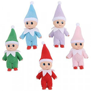 Yoodelife Colorful Costume Vinyl Face Plush Dolls Elf for Christmas Holiday New Year Decoration Gift, 5 Pack