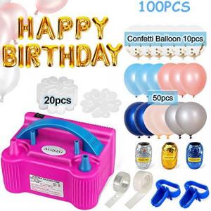 Electric Balloon Pump, 100 PCS Balloon Pump Set, Balloon Air Pump with 60 different size balloons, HAPPY BIRTHDAY Balloons, 20 Flower Clips?3 Colored Ribbon and 2 Tying Tools for Party/ Wedding/ Celebration/ Halloween/ Festival/ Decoration, Pink.