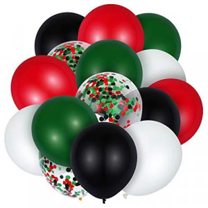 60 Pieces Christmas Party Balloons?12inch Red White Green Confetti Latex Balloons Lumberjack Woodland Forest Party Decorations Favors