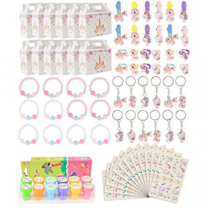 Unicorn Party Supplies Set, Unicorn Birthday Favors Packs Including Bracelets, Stamper, Keychains, Rings, HairClips, Box,Tattoos, Unicorn Decorations Gift for Kids Girls Baby