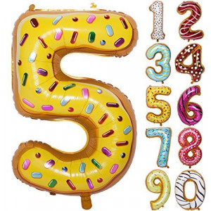 36 Inch Donuts Large Numbers Balloon Birthday Party Decorations Helium Foil Mylar Big Number Digital 5