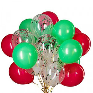 Red Confetti and Green Balloons - Pack of 50,Party helium balloon Party Decorations Supplies 3 Style,12 Inch