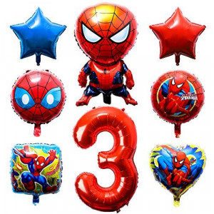 PANTIDE 8Pcs Spiderman Balloons 3rd Birthday - Including Giant Number 3 Balloon, Foil Balloons, Avengers Superhero Theme Birthday Party Decorations Supplies for Baby Kids Boys Who Likes Spiderman