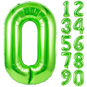 40 Inch Single Green Number 0 Balloons, Large Numbers 0-9 Helium Foil Mylar Big Number Balloon for 0th Borthday Party Decorations, Boy, Girl, Kids