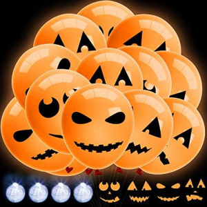 48 Pieces Halloween LED Light up Balloons Pumpkin Balloons Glow in the Dark Latex Balloons for Halloween, Birthday, Wedding Party, Dance Party Decorations Supplies, 4 Styles