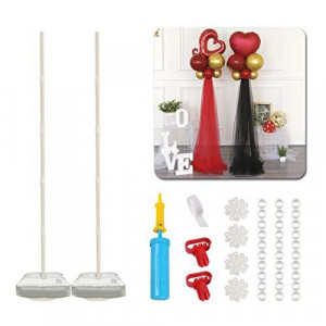 61-inch Balloon Column Kit with base(2 Set ), Pretty Balloon Arch & Garland kit Stand Decorations for New Years Eve, Christmas, Birthday Party