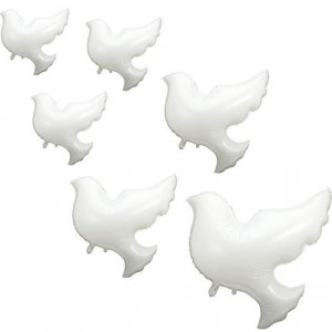 6 Pieces Peace Dove Balloons White Memorial Balloons Pigeon Bird Balloons Ceremonies Party Decorations Dove Foil Balloons for Wedding Funeral Birthday Engagement Christmas Party Supplies
