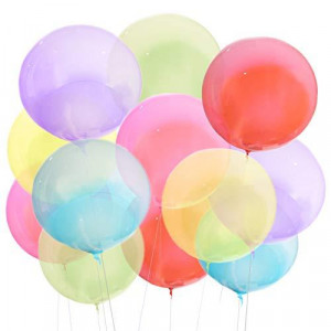 Zancybuzz 30 Pcs Clear Multicolor Bobo Balloons 20 Inches Transparent Red, Pink, Purple, Blue, Yellow, Green Bubble Balloons for Light Up Led Balloons, House Decor, DIY, Christmas, Events, Wedding, Anniversary, Indoor and Outdoor Decoration, Family Reunio