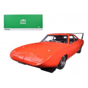 1969 Dodge Charger Daytona Custom Red/Orange With Black Rear Wing 1/18 Diecast Model Car By Greenlight