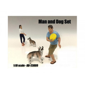 Man and Dog 2 Piece Figure Set For 1:18 Scale Models by American Diorama