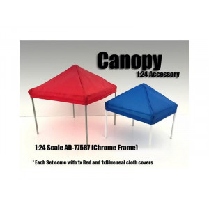 Canopy Accessory Blue and Red with 1 Chrome Frame 1:24 Scale by American Diorama
