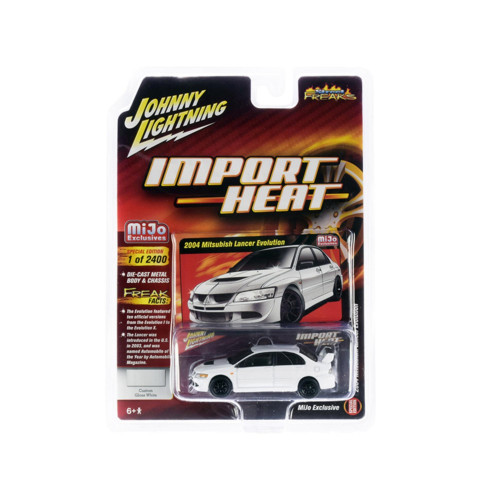 2004 Mitsubishi Lancer Evolution White with Black Wheels Import Heat Street Freaks Series Limited Edition to 2,400 pieces Worldwide 1/64 Diecast Model Car by Johnny Lightning JLCP7311