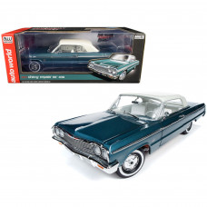 1964 Chevrolet Impala SS 409 Lagoon Aqua Green Metallic with Gloss Ermine White Top and White Interior 1/18 Diecast Model Car by Autoworld AMM1219