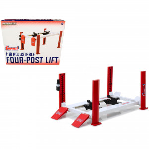 Adjustable Four Post Lift Red and White Summit Racing Equipment for 1/18 Scale Diecast Model Cars by Greenlight 13549