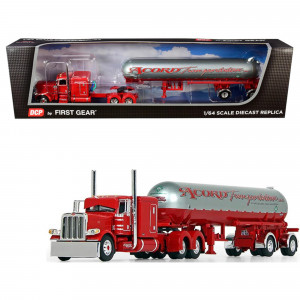 Peterbilt 389 with 63 Flattop Sleeper Cab and Mississippi LP Tank Trailer Acord Transportation Red and Silver 1/64 Diecast Model by DCP/First Gear 60-0691