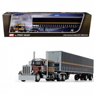 Peterbilt 359 with 63 Flattop Sleeper Cab with 53' Utility Tautliner Spread-Axle Trailer Black with Gold and Red Stripes 1/64 Diecast Model by DCP/First Gear 60-0753