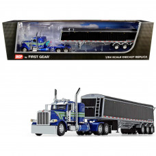 Peterbilt 389 36 Flattop Sleeper Cab with Lode King Distinction Tri-Axle Hopper Trailer Blue Metallic and Black 1/64 Diecast Model by DCP/First Gear 60-0746
