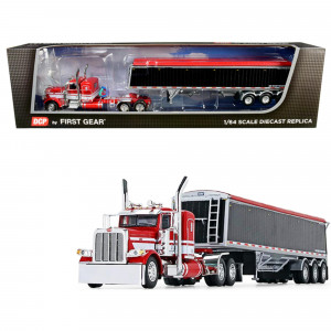 Peterbilt 389 36 Flattop Sleeper Cab with Lode King Distinction Tri-Axle Hopper Trailer Red and Black 1/64 Diecast Model by DCP/First Gear 60-0747
