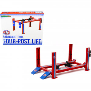 Adjustable Four Post Lift STP Blue and Red for 1/18 Scale Diecast Model Cars by Greenlight 13555