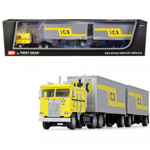 Kenworth K100 COE Truck with Wabash Double Pup Trailers ICX (Illinois California Express) Yellow and Silver 32th in a Fallen Flag Series 1/64 Diecast Model by DCP/First Gear 60-0738