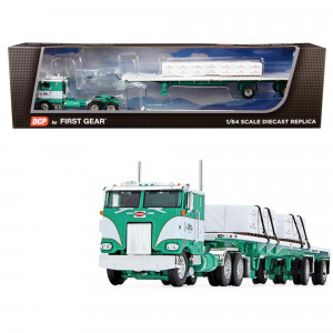 Peterbilt 352 COE 86 Sleeper Cab with 48' Flatbed Spread-Axle Trailer with Shingle Load George Van Dyke Trucking Green and White 1/64 Diecast Model by DCP/First Gear 60-0739
