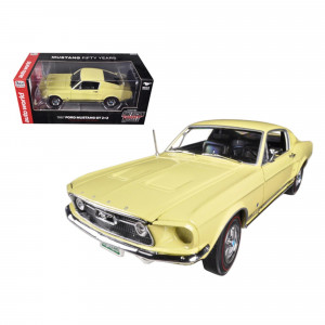 1967 Ford Mustang 2+2 GT Aspen Gold Limited to 1250pc 50th Anniversary 1/18 Diecast Car Model by Autoworld AMM1038