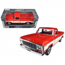 1979 Ford F-150 Pickup Truck Two Tone Red and Cream 1/24 Diecast Model Car by Motormax 79346AC-REDCRM