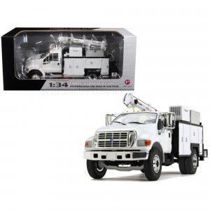 Ford F-650 with Maintainer Service Body White 1/34 Diecast Model Car by First Gear 10-4107