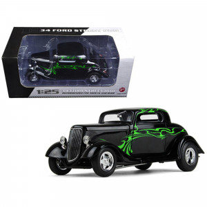 1934 Ford Coupe Street Rod Black with Lime Green 1/25 Diecast Model Car by First Gear 40-0382