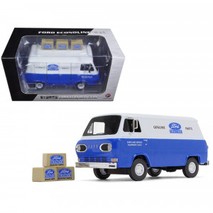 1960's Ford Econoline Van Blue with Three Boxes Ford Tractor Parts and Service 1/25 Diecast Model Car by First Gear 40-0394