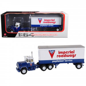 Mack R Model With 28' Pop Trailer Imperial Roadways 1/64 Diecast Model by First Gear 60-0265