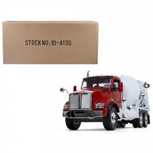 Kenworth T880 with McNeilus Standard Mixer Red Cab/ White Body 1/34 Diecast Model by First Gear 10-4130