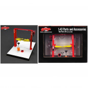 Two Post Lift Red and Yellow for 1/43 Scale Diecast Model Cars by GMP 14306