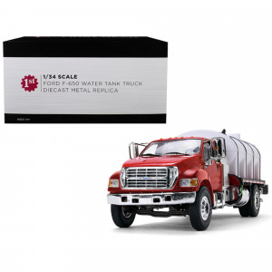 Ford F-650 with Roto Molded Water Tank Truck Red and White 1/34 Diecast Model by First Gear 10-4152